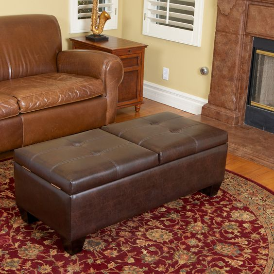 Christopher Knight Home Merrill Double Opening Chocolate Brown Leather Storage  Ottoman - Overstock™ Shopping - - Chocolate Brown, Great Deals And Brown Leather On Pinterest