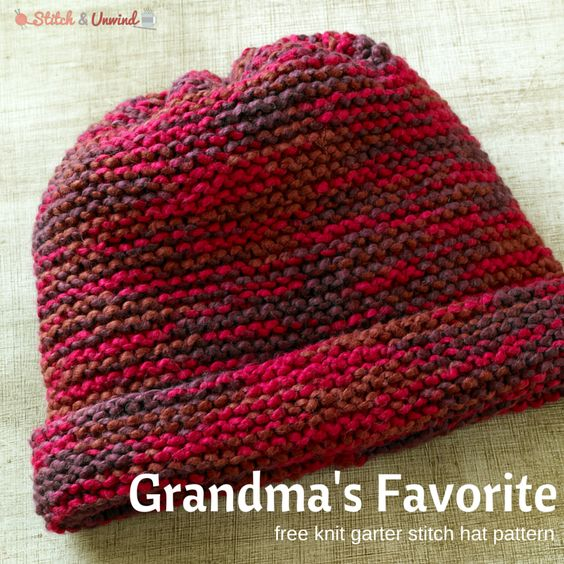 Knitting Hat Patterns For Beginners : Grandma s favorite knit garter stitch hat pattern