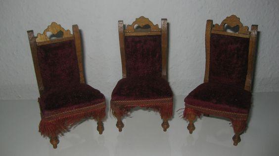 Antike Gründerzeit Stühle mit rotem Samtbezug um 1880/1890 für Puppenstuben   eBay