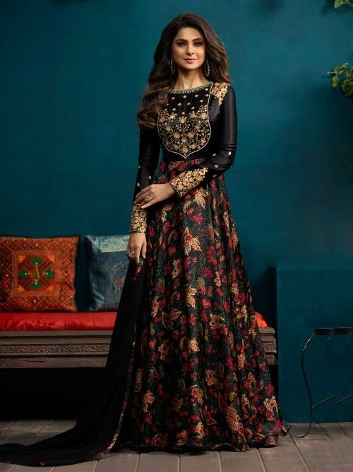 Jennifer Winget Style Black Gown Suit Online Which Is Crafted From Silk And Satin Silk Fabric With Exclusive Embroidery Bead Work Stylish Gown Dresses Fashion