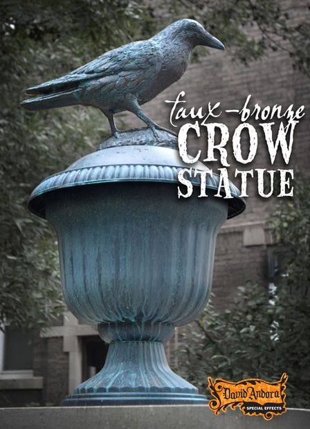 Learn to make these large, faux-bronze crow statues for Halloween or year-round outdoor display. A plastic urn, crow decoy and a squirrel baffle combine without too much else to make something far greater than the sum of their parts :)