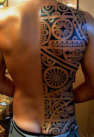 Tahiti Tattoo of a Polynesian Half Back for Men that show us Manu's command of all type of Polynesian Symbolism