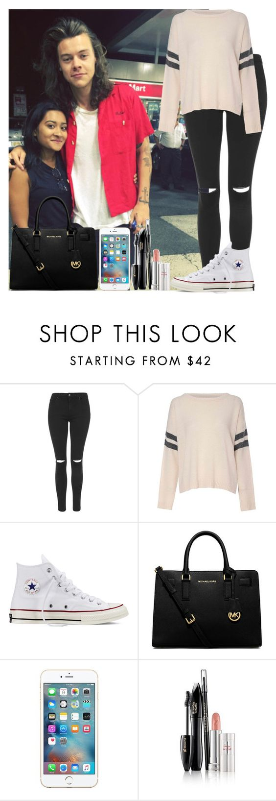 """Harry Styles"" by irish26-1 ❤ liked on Polyvore featuring Topshop, Glamorous, Converse, MICHAEL Michael Kors and Lancôme"