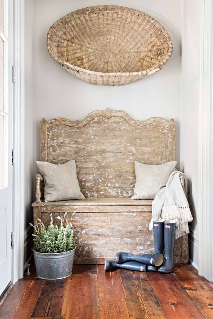 French farmhouse/rustic bench/galoshes/galvanized bucket/basket on wall/linen