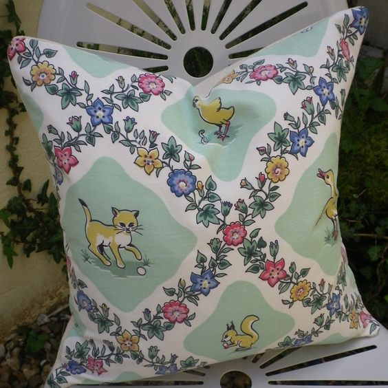 Vintage 1940s Juvenile Cat Duck Bird Squirrel Fabric Cushion Pillow