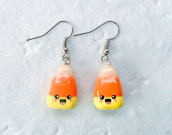 kawaii earrings | Kawaii Candy Corn Earrings D by aLilBitOfCute on Etsy