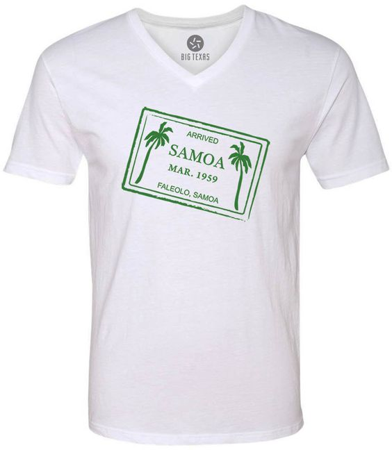 Samoa Passport Stamp (Green) Short-Sleeve V-Neck T-Shirt