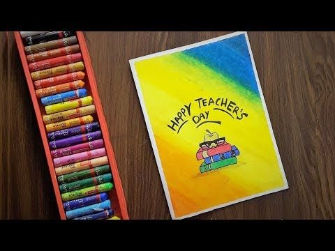 Teacher S Day Card Drawing Very Easy With Oil Pastels For Beginners Step By Step Youtube Teachers Day Card Teachers Day Drawing Card Drawing