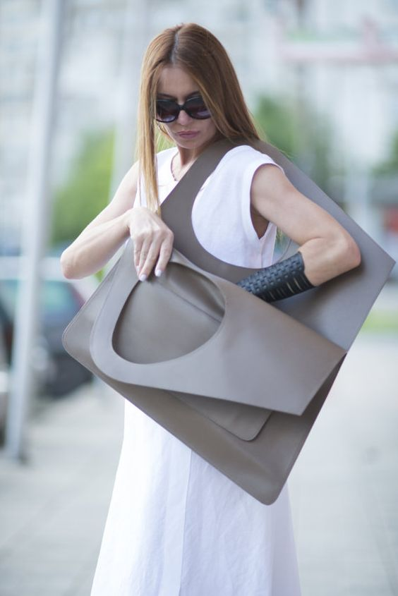 Tobacco Brown Leather Tote Bag Italian Leather Tote by EUGfashion