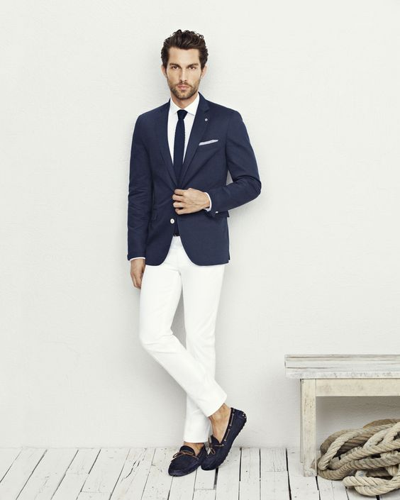 Navy Blue Blazer Jacket White Pants White Shirt Navy Blue Knit