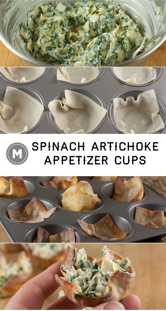 These simple little appetizer cups are perfect for any occasion. Who doesn't want spinach artichoke dip on the go?