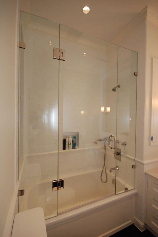 Shower Tub Enclosures Frameless Polished Or Brushed Stainless Steel Bypassing Tub Enclosure With Images Bathtub Shower Doors Tub Shower Doors Bathtub Doors