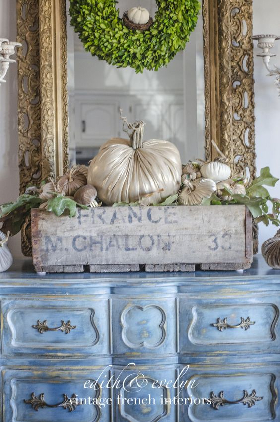 French Country Fall Display + Glammed Up Pumpkins - via Edith & Evelyn