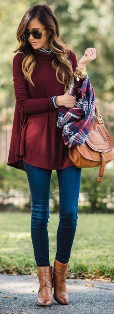 Burgundy top, skinny jeans, brown booties: