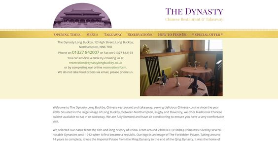Website For The Dynasty Chinese Restaurant Cool Websites