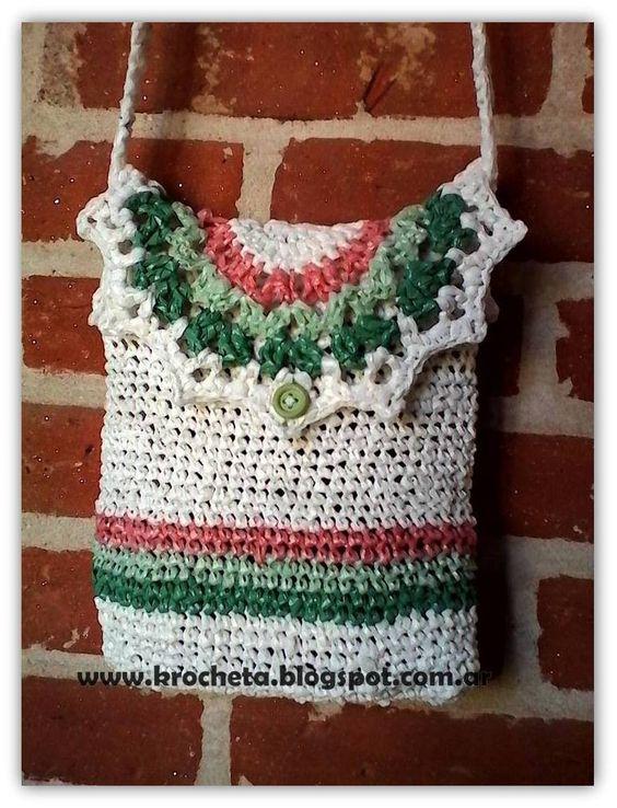 bandolera tejida crochet con plarn Krocheta.blogspot.com.ar