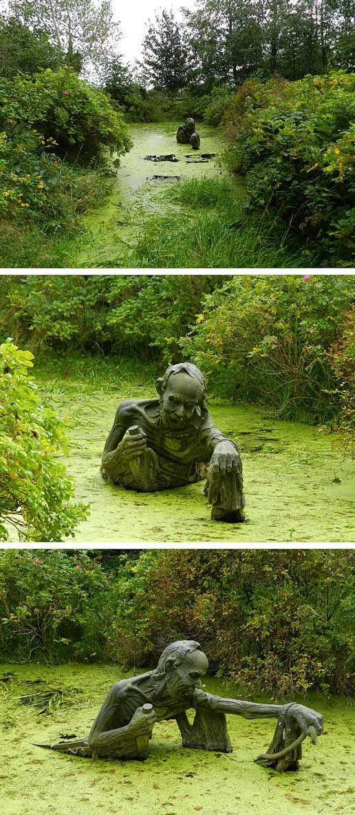 Swamp sculpture (The Ferryman's End) in Eastern Ireland… This is just bizarrely cool, I have to see it. Victoria's Way, Roundwood, Co Wicklow, Ireland http://www.victoriasway.eu/ferryman.htm: