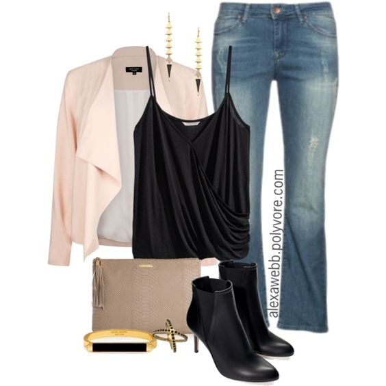 "#plus #size #outfit ""Plus Size - Pink Blazer"" by alexawebb on Polyvore"
