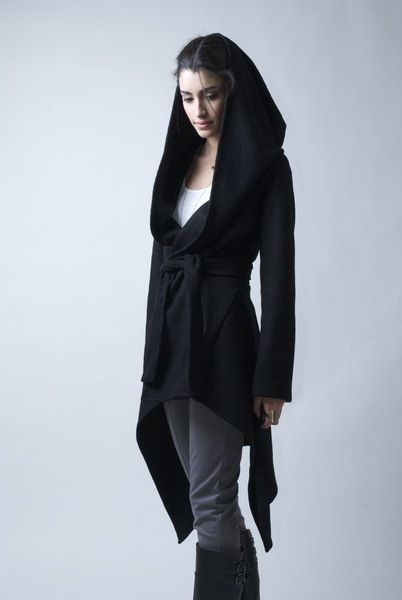 50c9f94c4bb Black Coat with a Hood   Sweater Hoody - MC075 from marcellamoda by  DaWanda.com