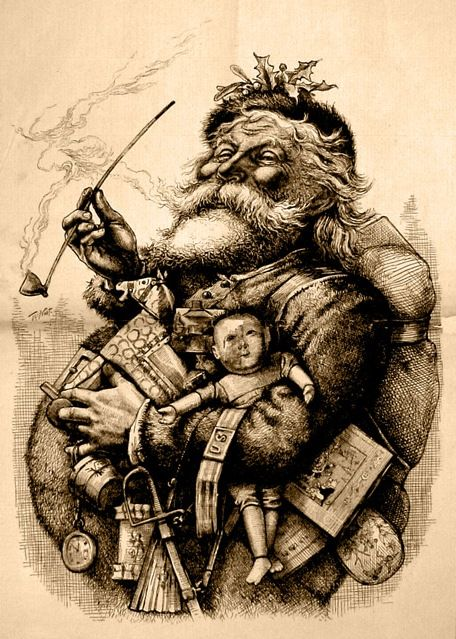 Santa Claus, 1881. by Thomas Nast.: Vintage Christmas, Christmas Santa, Vintage Santa, Father Christmas, Thomas Nast, Christmas Card, Harper, Christmas Printable, Vintage Image