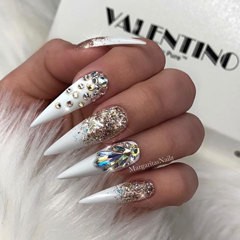 White Gold Glitter Ombre Stiletto Nails Bling Nail Art Design