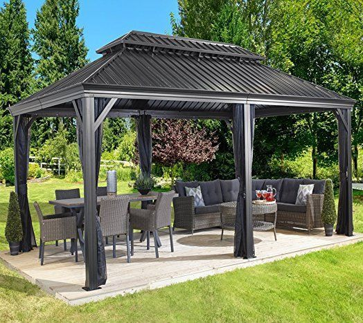 Sojag Messina 12 X 20 Galvanized Steel Roof Sun Shelter Ebay Backyard Pavilion Backyard Gazebo Hardtop Gazebo