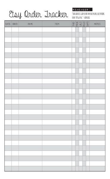 Blank Etsy Order Tracker Printable Planner Insert Fits