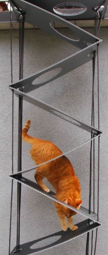 What a clever idea for a collapsible cat ladder. I am blown away. I will be making this with wood and sisal rope.