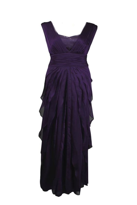 Adrianna Papell Ruched Waist Sequin Detail Tiered Chiffon Dress