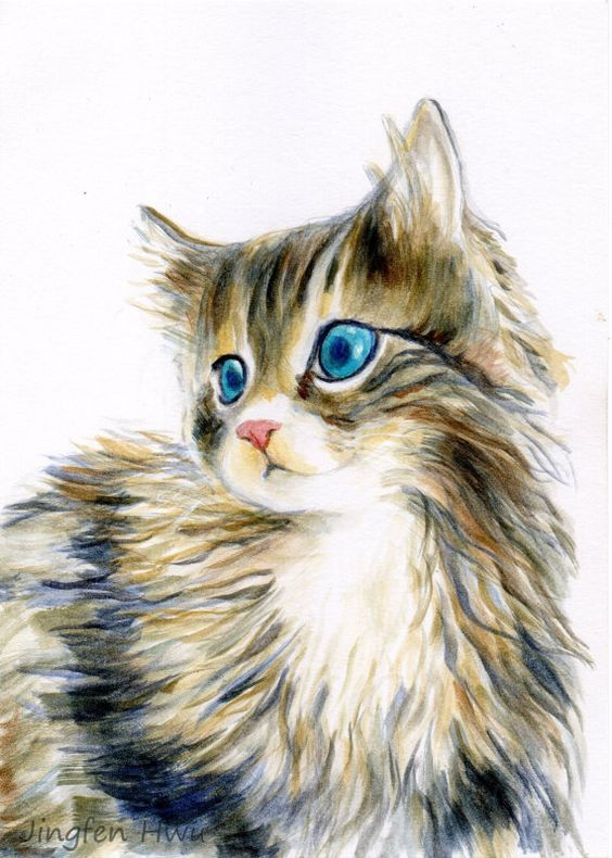 get a custom portrait of your cat as Christmas gift by JingfenHwu, $45.00: