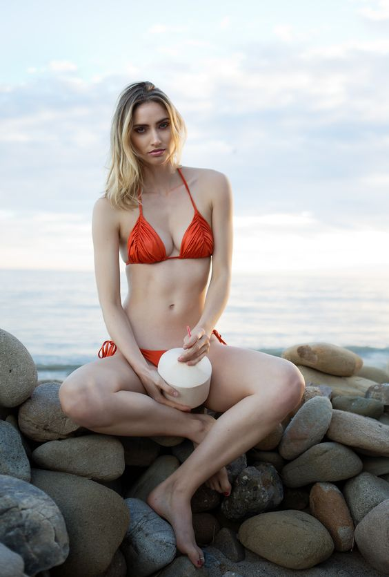 Dolce Aqua ruched triangle bikini and perfect fit rushed side tie bottom in our silky smooth fabric imported from Italy.