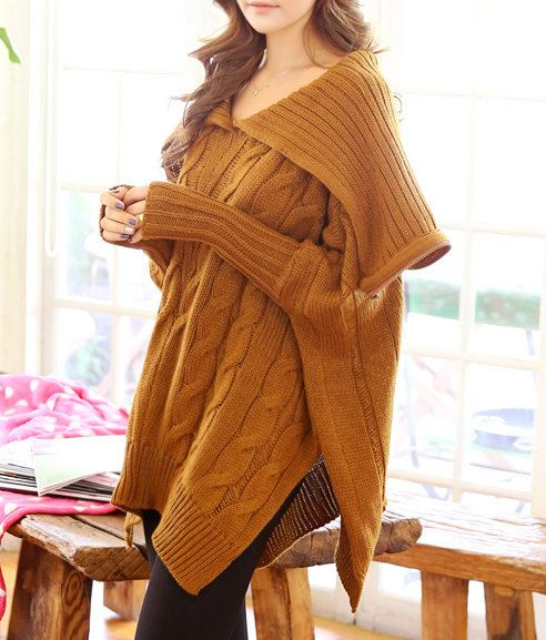 LOVE THIS! Oversize long brown hoodie sweater knit cardigan by hjyggj on Etsy