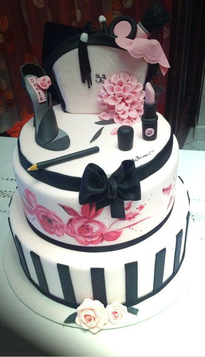 Stunning High Fashion Cake  ~ Hand painted and all edible