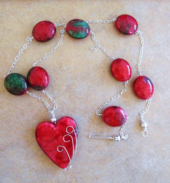 Illusion Wire Wrapped Heart Pendant Necklace Green and Red Beaded Holiday Pendant Necklace #178 by TheGlitterShop on Etsy