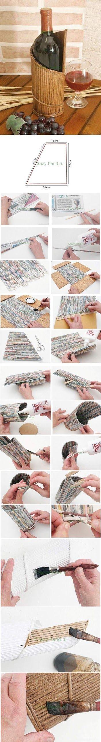 Botellero con papel de periódico reciclado (paso a paso) - Tutorial wine stand from newspaper