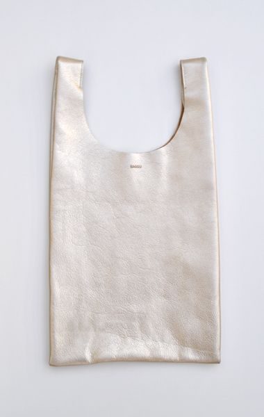 I like the simplicity of this cut.  Baggu Leather Bag, Platinum