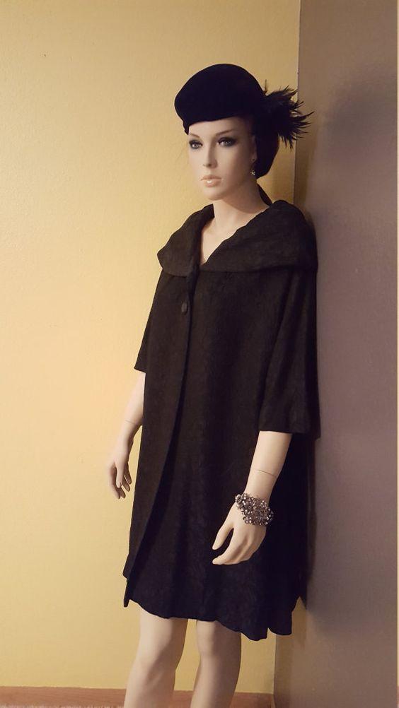1950's Textured Black Brocade Coat by Sandra by EmmasGraceVintage