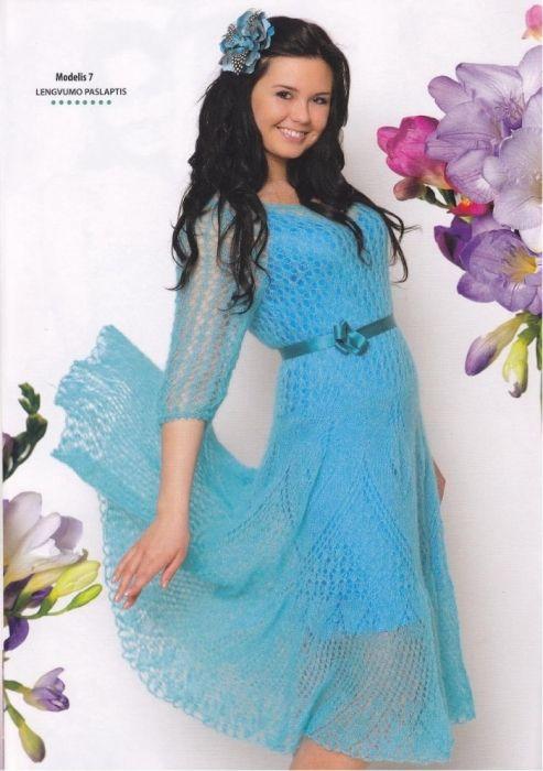 Платье вязаное из мохера спицами фото