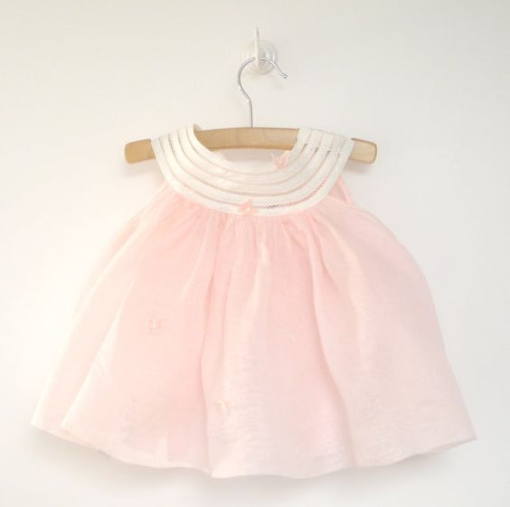 Vintage Baby Clothes 1950 s Pink Organdy Baby Girl Dress
