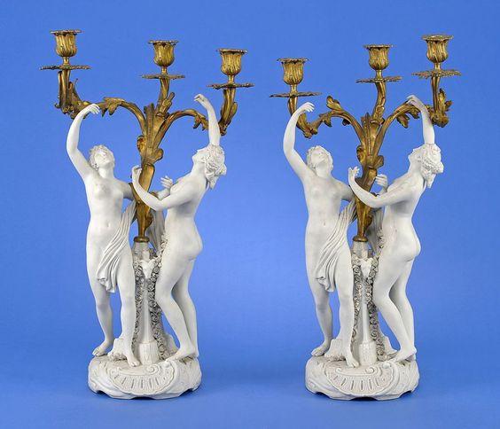 Ein Paar Girandolen im Sèvres-Stil Zweite Hälfte 19. Jhdt. Bisquitporzellan und vergoldete Bronz — Porzellan