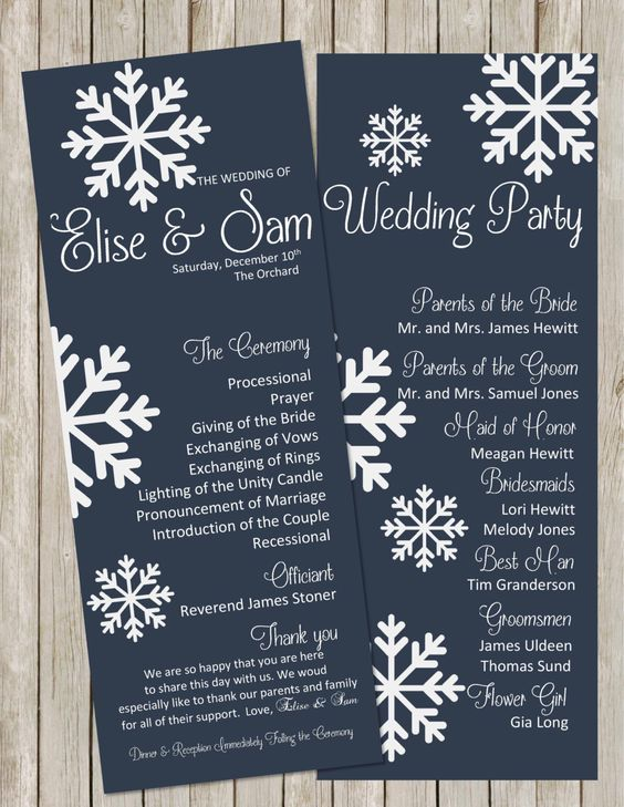 DIY Printable Elegant WINTER Wedding Program Snowflakes Wedding Programs Winter Wedding Navy | White Color can be Customized to Your Wedding by PerfectedbyGrace on Etsy