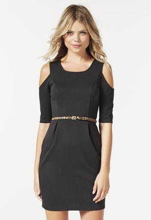 COLD SHOULDER DRESS - cut out Schulter-Kleid mit raffinierendem Gürtel an der Taille