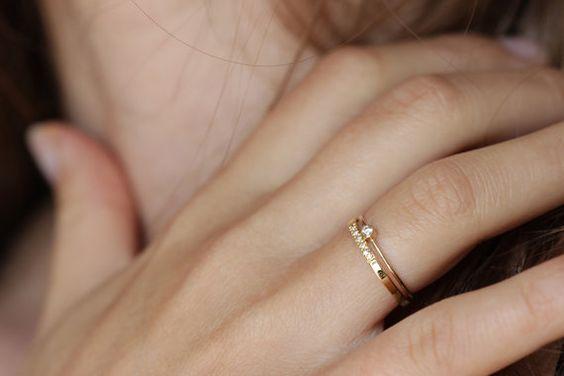 Diamant-Ring zu ebnen dünne Diamant Ehering Solid von artemer