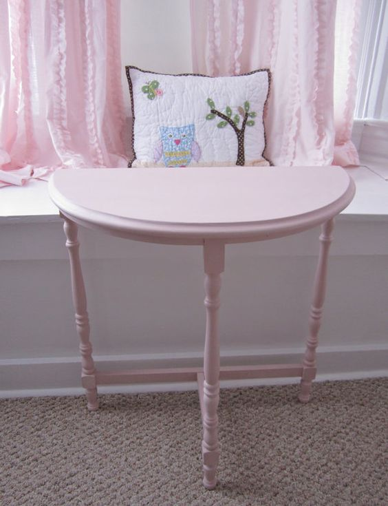 PINK side table end table nursery table half moon by 2BirdsVintage, $36.00