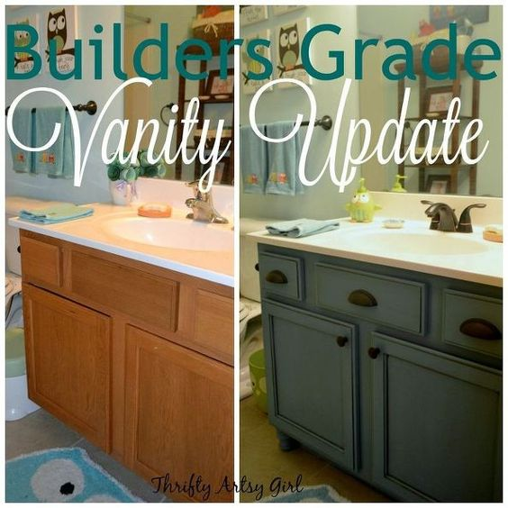 Instead of replacing a builders grade vanity this clever DIYer updated it beautifully for only $60.00
