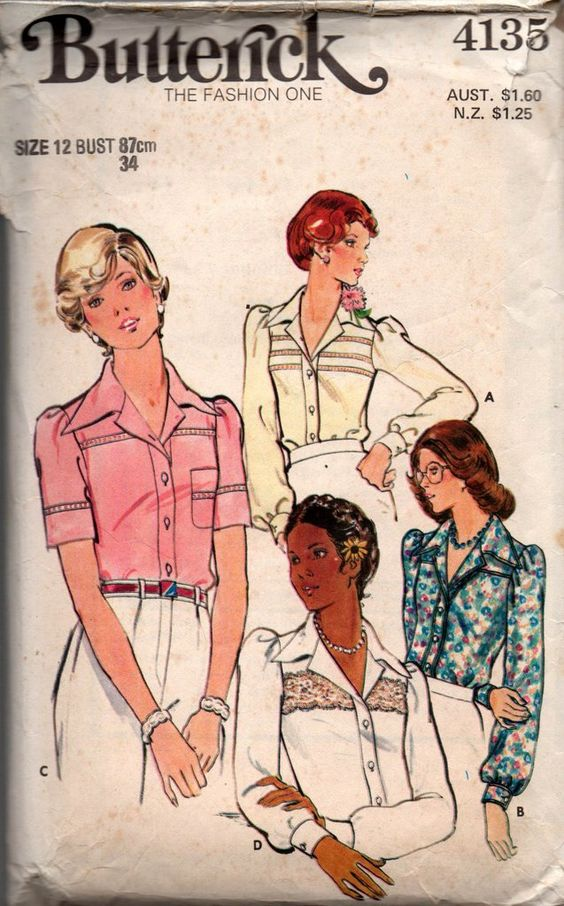 70s Butterick 4135 Womens Boho Blouse Pattern Size 12 Bust 34 inches