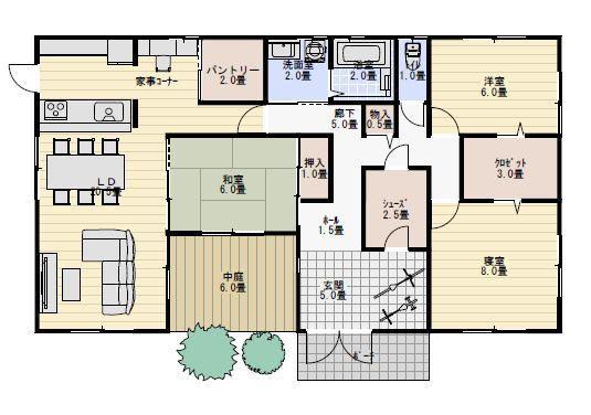 33坪中庭のある平屋の間取り 平屋間取り 平屋住宅の間取り 35坪