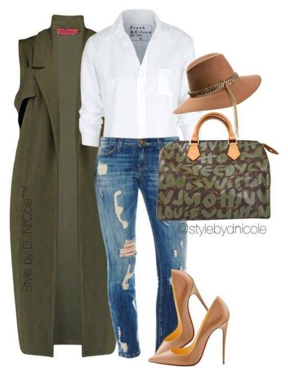 """""""Untitled #3184"""" by stylebydnicole ❤ liked on Polyvore featuring Boohoo, Frank & Eileen, Louis Vuitton, Maison Michel, Christian Louboutin, women's clothing, women, female, woman and misses"""