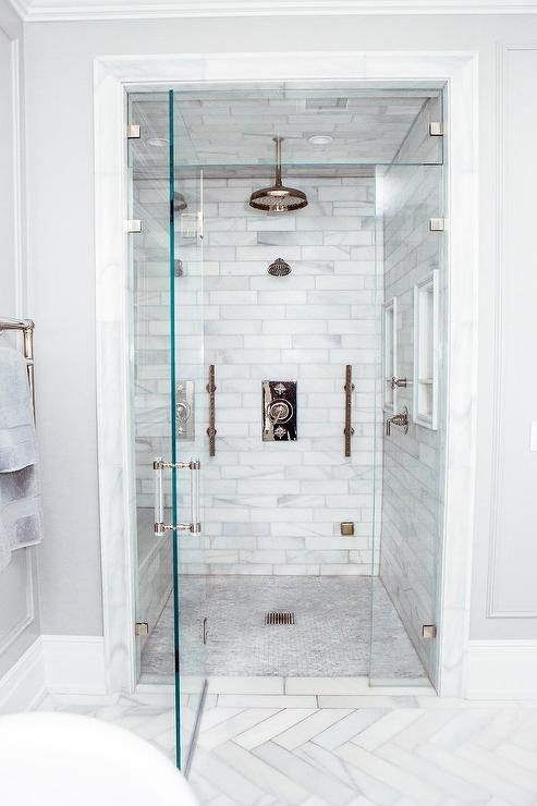 Walk In Steam Shower With Staggered Honed Marble Tiles Multiple