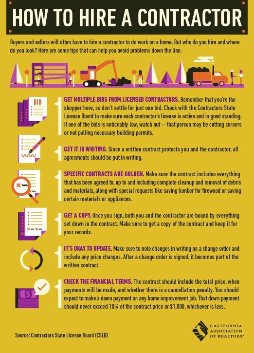 Check out our infographic on how to hire a contractor. We can provide you with list of contractors in the LA Area for your home improvement projects. www.TheAguilarRealtyGroup.com